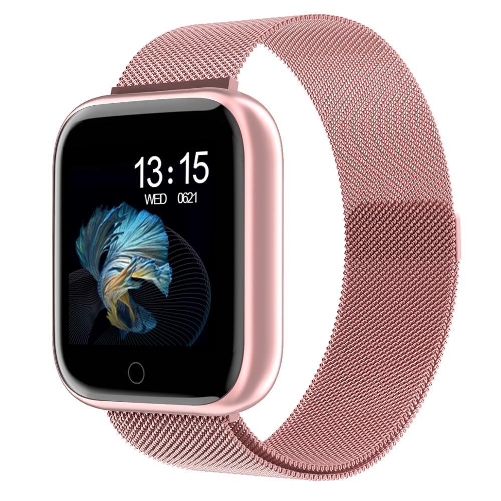 À prova d' água relógio da Frequência Cardíaca monitor de pressão Arterial Inteligente smartwatch para iPhone Xiaomi Android Esporte Health watch P68 P70 Plus
