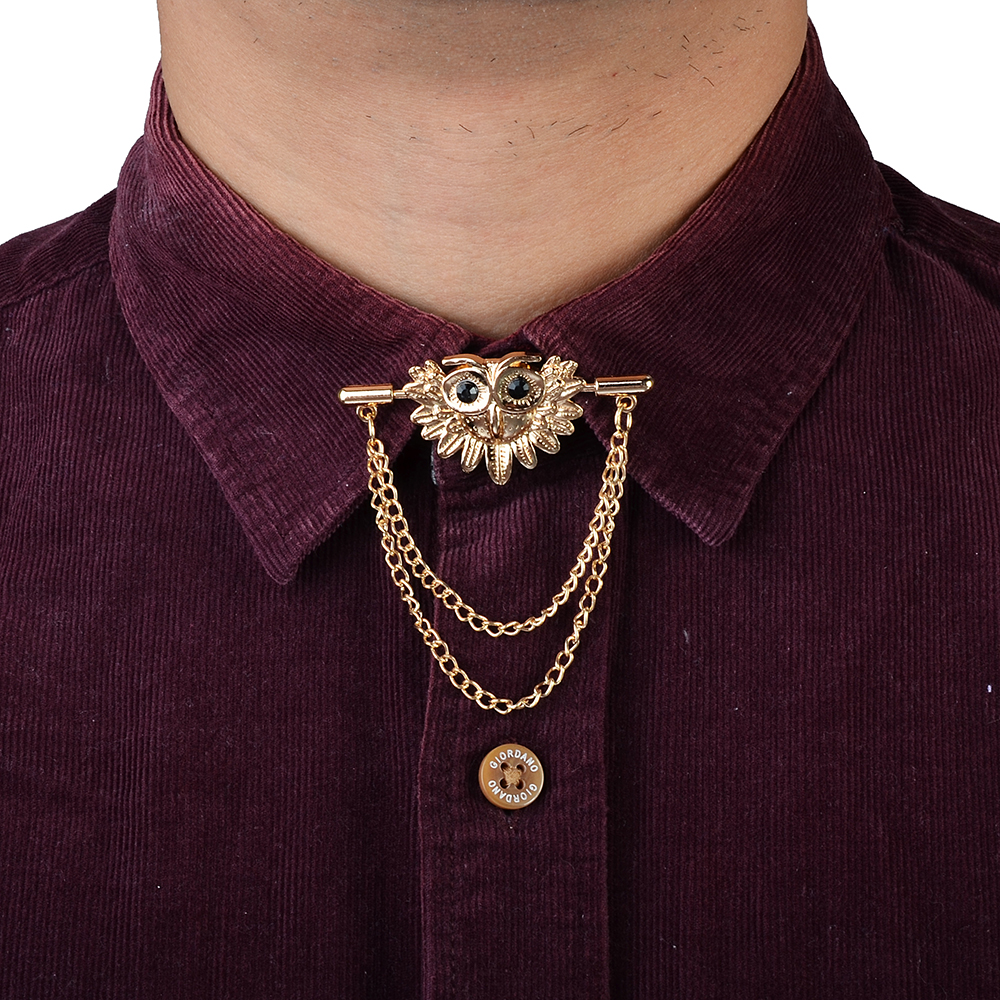 Obn Brand Gold Chain Owl Menstie Collar Pin Brooch Tie
