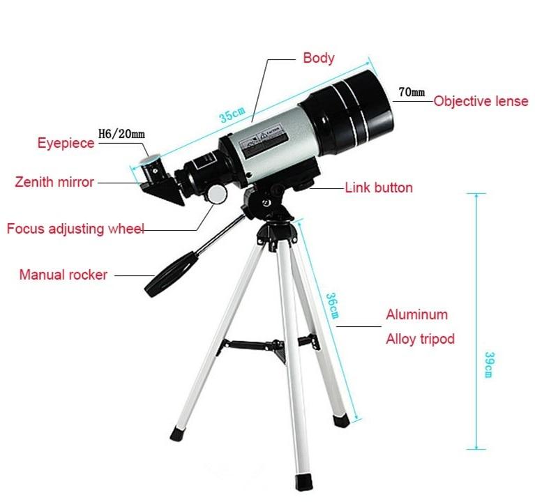 Monocular 300/70mm Telescopio 150X Refractive Astronomical Telescope with Tripod Children Gift kid s gift entry level astronomical telescope with tripod for children