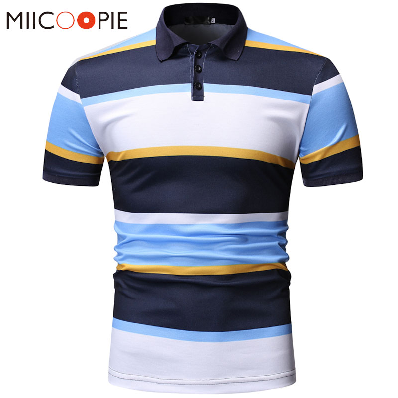 Men Classic Striped Polo Shirt Short Sleeve 2019 Summer Shirt Polo Homme Patchwork Color Polo Shirts Casual Mens Clothing XXXL
