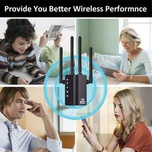 Image 3 - Kuwfi 1200 mbps wifi repetidor com 4 antenas externas, 2 portas ethernet, 2.4 & 5 ghz dupla faixa impulsionador de sinal cobertura completa wi fi