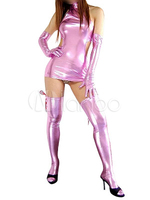 High Quality Halloween Carnival Party Pink Shiny Metallic Sexy Zentai Suit