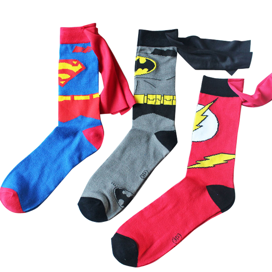 Batman Superman Cosplay Socks The Flash Cartoon Style DC Knee-High Summer Casual Personality Socks Funny Unisex Student 2018
