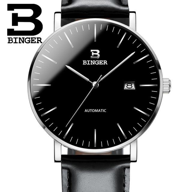 efecf77a9af Suíça BINGER Relógios Homens Marca de Luxo Relogio masculino de Aço  Inoxidável Resistente À Água relógios