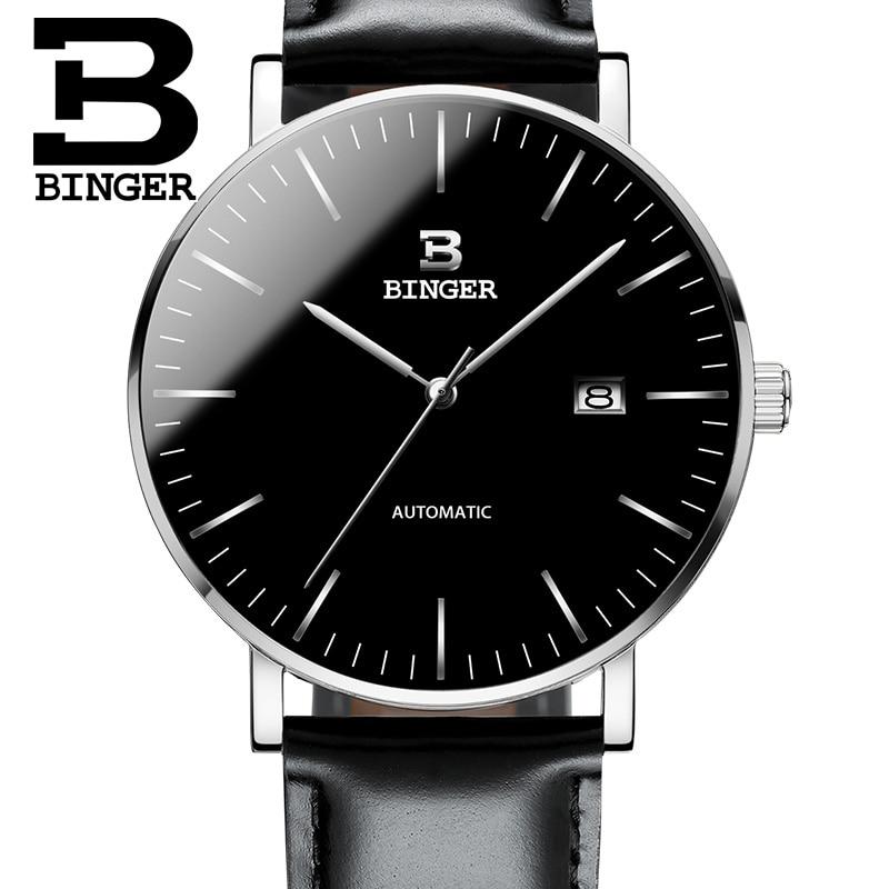 Szwajcaria BINGER zegarki mężczyźni luksusowa marka Relogio Masculino odporny na wodę ze stali nierdzewnej mechaniczne zegarki na rękę B 5081 w Zegarki mechaniczne od Zegarki na  Grupa 1