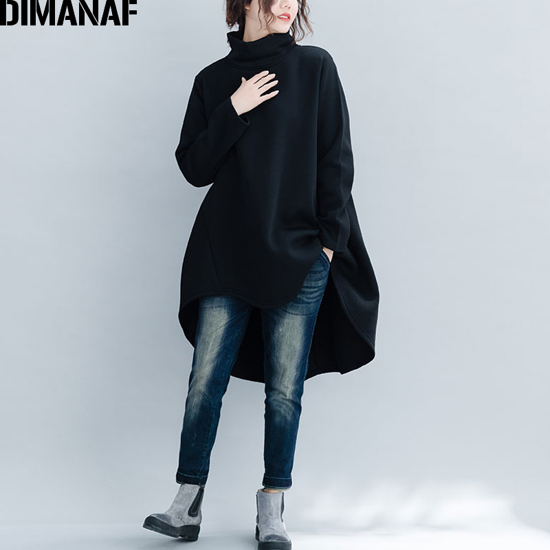 DIMANAF Plus Size Women Pullover Winter Warm Hoodies Sweatshirts Cotton Knitted Thicken Top Female Turtleneck Loose Clothes 2018 2