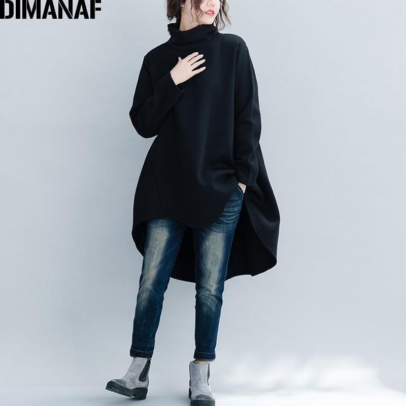 DIMANAF Plus Size Women Pullover Winter Warm Hoodies Sweatshirts Cotton Knitted Thicken Top Female Turtleneck Loose