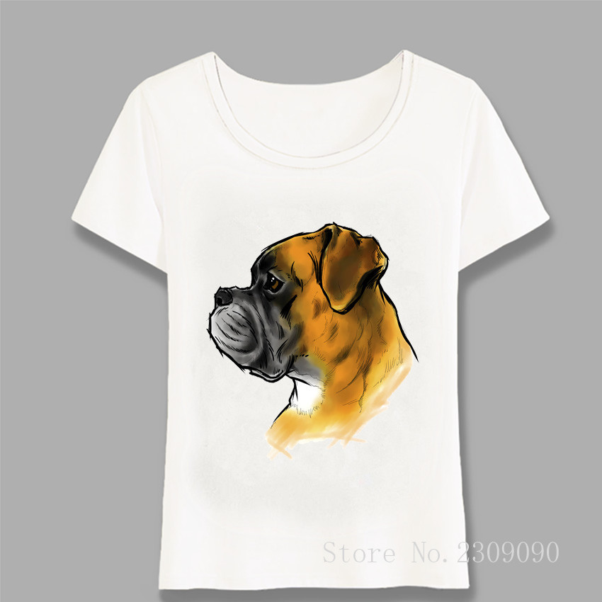 Fashion Women T Shirts Funny Boxer Dog