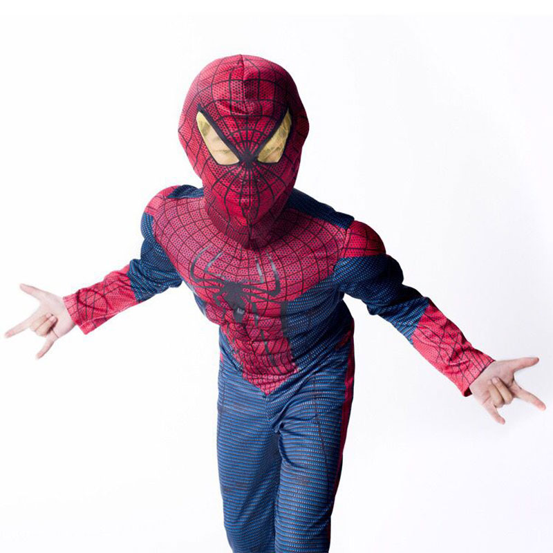 Purim Boy Amazing Spiderman Fantasy Costume For Kids Muscle Marvel Child Superhero Cosplay Costumes Halloween Carnival Party