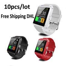 Großhandel 10 teile/los smart watch u8 uhr sync notifier unterstützung bluetooth-konnektivität iphone android telefon smartwatch uhr