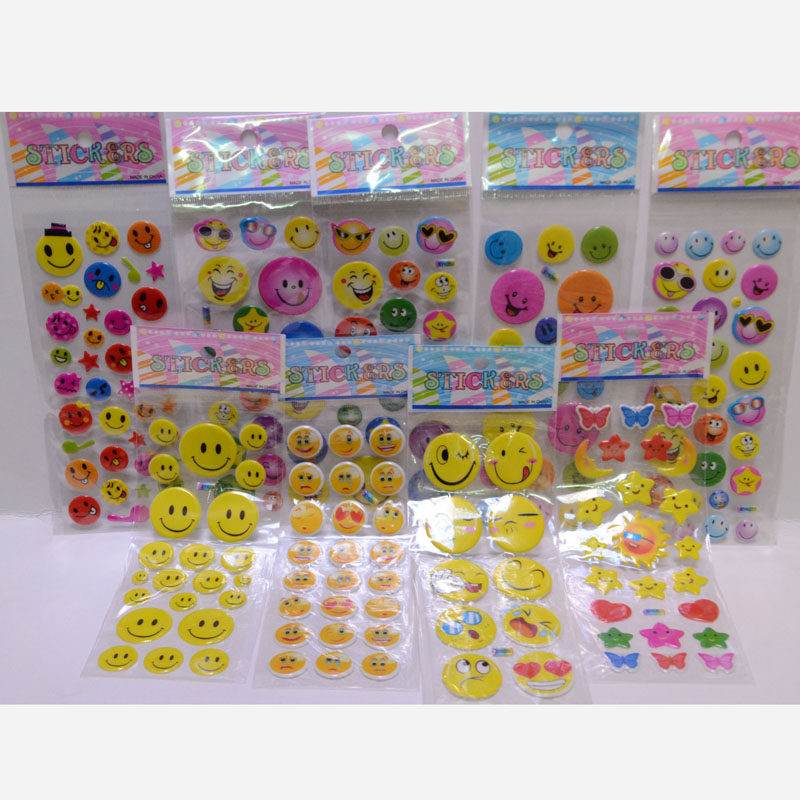 New cartoon smiley face sticker decal Children inspirational perspective bubble prize sticker toys
