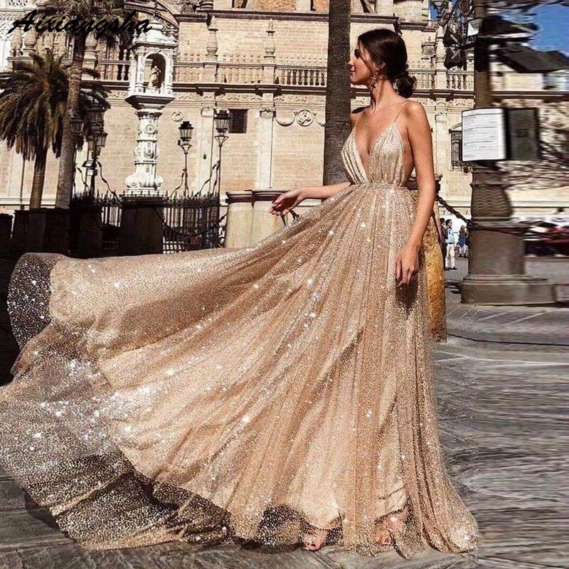 Robe de bal scintillante 2019 robes de graduacion une ligne bretelles Spaghetti col en V dos nu Sequin or longue robe de bal