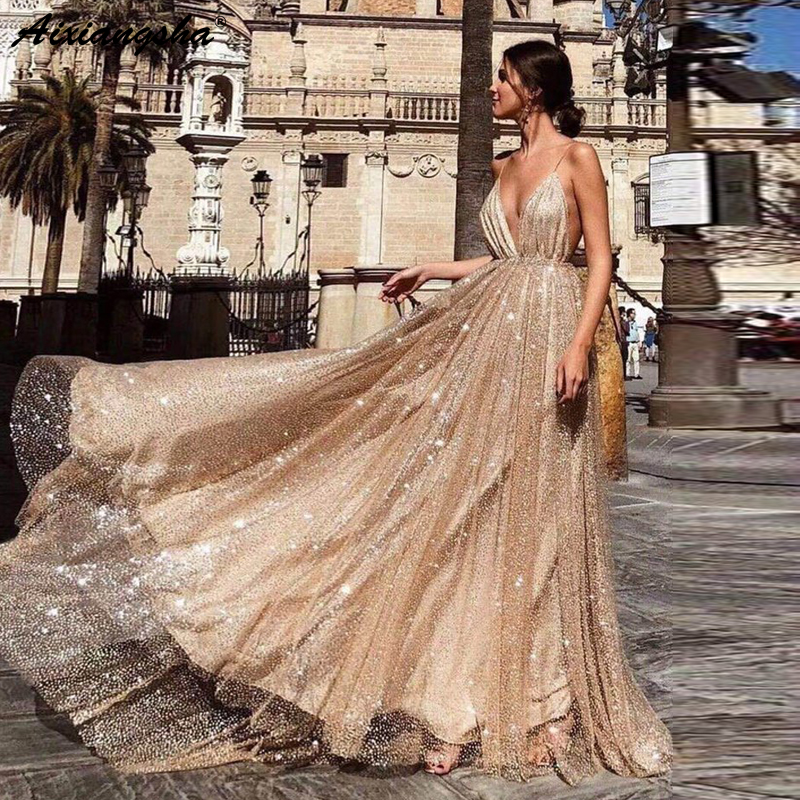 Sparkling Party Prom Gowns 2019 vestidos de graduacion A Line Spaghetti Straps V Neck Backless Sequin Gold Long Prom Dress