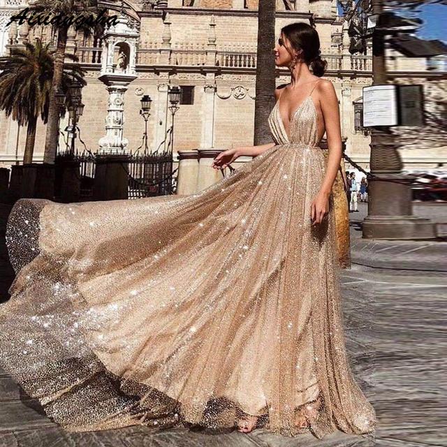 e62815c85a Sparkling Party Prom Gowns 2019 vestidos de graduacion A Line Spaghetti  Straps V Neck Backless Sequin ...
