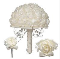AYiCuthia шелка цвета слоновой кости с жемчугом Букеты свадебные цветы Keepsake букет невесты и Букеты Свадебные S107