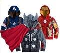 ZX192, Мстители железный Человек с капюшоном дети весна одежда куртки для мальчиков верхняя одежда детская одежда пальто