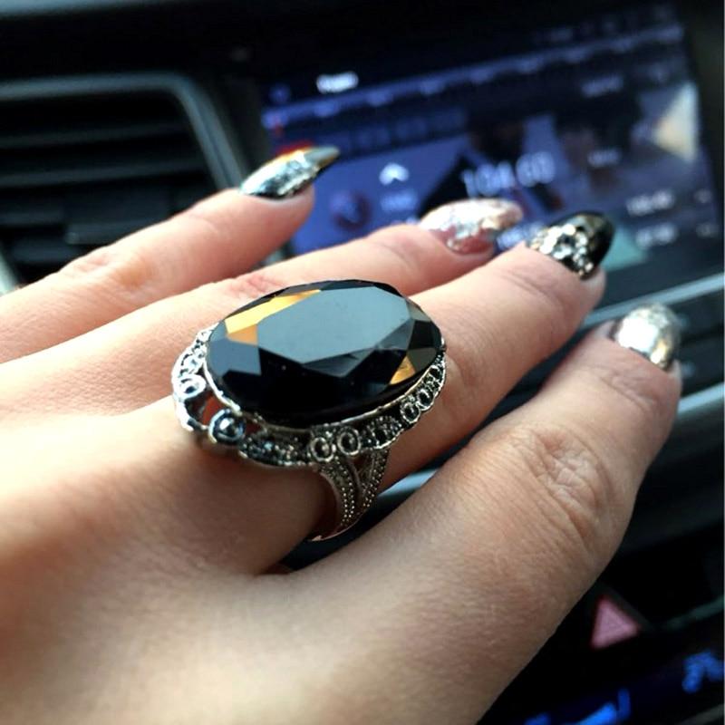 SINLEERY Vintage Big Black Oval Stone Rings For Women Størrelse 6 7 - Mote smykker - Bilde 2