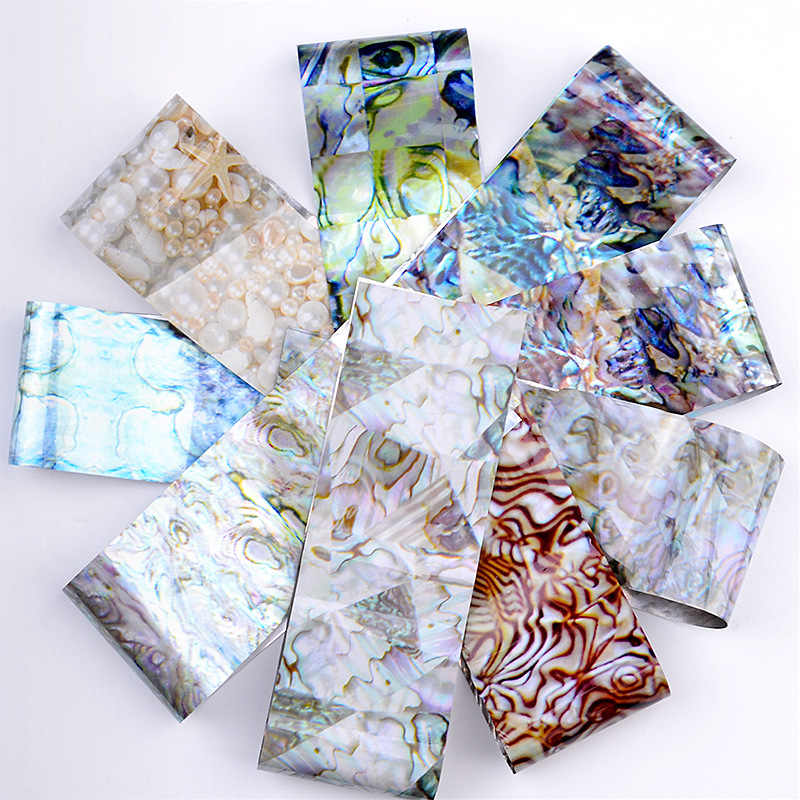 16 Pcs/set Holographic Gradient Nail Foil Laser Marble Shell Leopard Manicure DIY Tip Accessories Star Nail Art Transfer Sticker