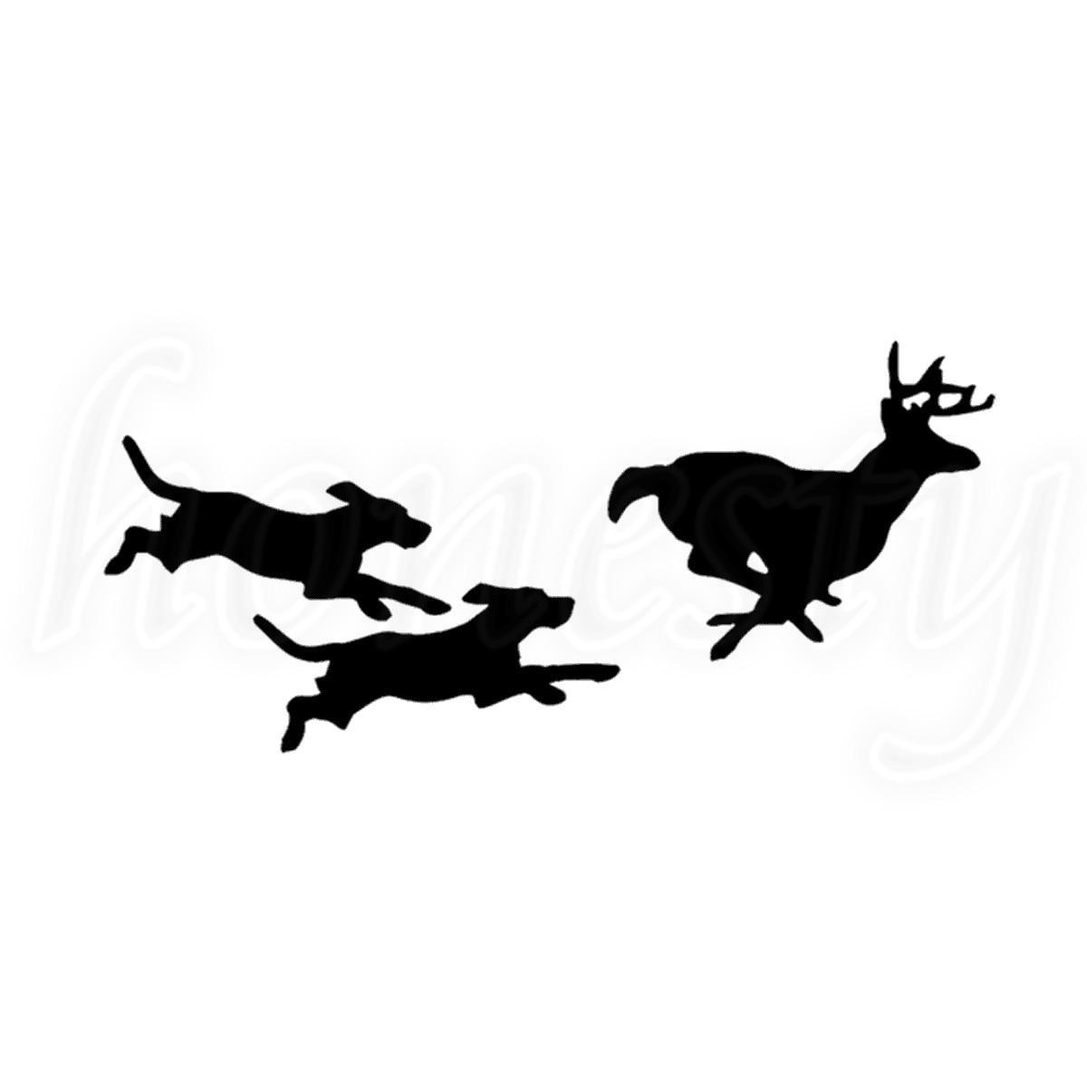 Hunting Dogs Chasing Deer Car Sticker Laptop Vinyl Decal