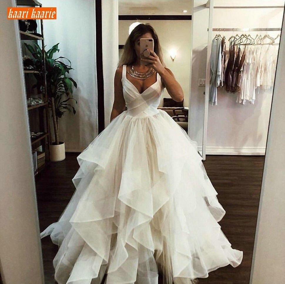 Gracieuse robe de bal ivoire robes de mariée longues volants princesse blanche Slim Fit robes de mariée vendre bien personnalisé faire robe de mariée - 4