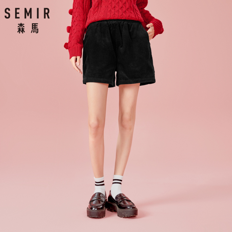 SEMIR Women 100% Cotton Corduroy Shorts With Elasticized Waistband Wide Legs With Side Pocket High Waist Wide-Cut Shorts