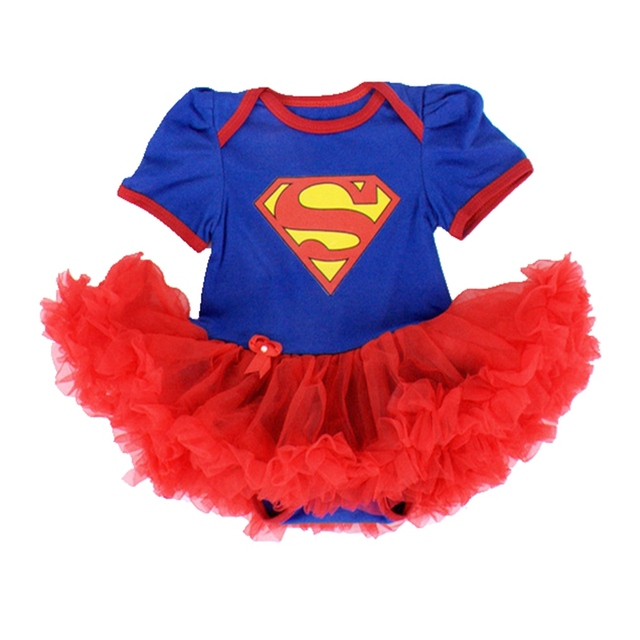 Blue Superman Baby Costumes Lace Petti Romper Dress 1st Birthday Outfits Bebe Jumpsuit Newborn Baby Girl Clothes Infant Clothing