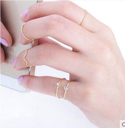 Zoshi 2017 nouveau 5 pcs/ensemble en gros grand escompte bijoux charme or argent couleur bagues pour femmes d'été anneau de baisse gratuite