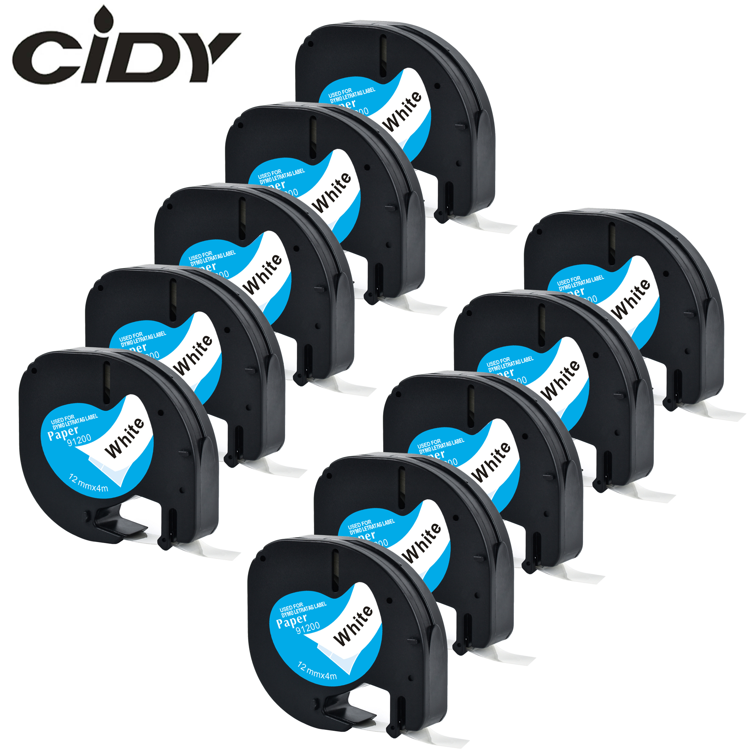 CIDY 10PK LT91200 Compatible Dymo LetraTag LT 91200 <font><b>10697</b></font> 91330 91220 59421 White Paper for Dymo Label Tapes for LT-100H image