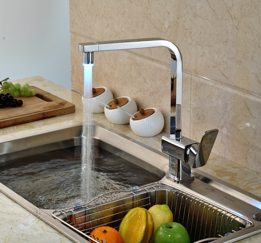 Single Handle Deck Mount Brass Kitchen Faucet with LED Light Chrome Finished Hot Cold Water deck mount single handle hot