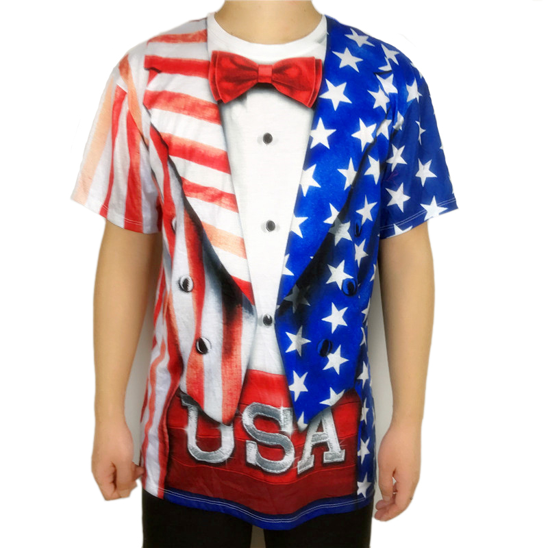 4th of July Party USA Flag Printed T Shirt for Men July 4th Patriot USA American Flag Print Short Sleeve Tee Plus Size