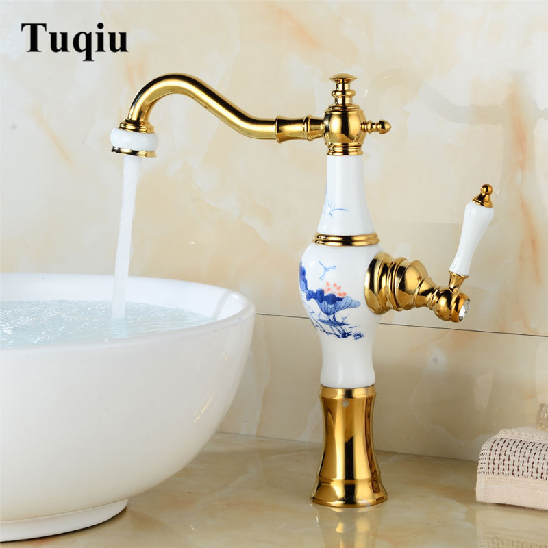 Basin Faucet Brass and Ceramic Sink Faucet Deck Mounted Vase Style Brass Bathroom Faucet Tap Hot and Cold Mixer Tap Basin MixerBasin Faucet Brass and Ceramic Sink Faucet Deck Mounted Vase Style Brass Bathroom Faucet Tap Hot and Cold Mixer Tap Basin Mixer
