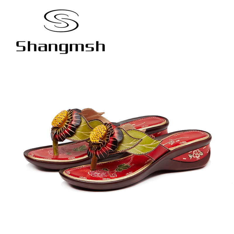 Shangmsh Flower Flip Flops 2017 Summer Women's Shoes Fashion Genuine Leather Wedges Slippers For Women Folk Style Casual Slides summer models princess womens handmade beaded small wedges with zipper after flip flops