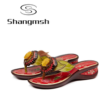 Shangmsh Flower Flip Flops 2017 Summer Women's Shoes Fashion Genuine Leather Wedges Slippers For Women Folk Style Casual Slides