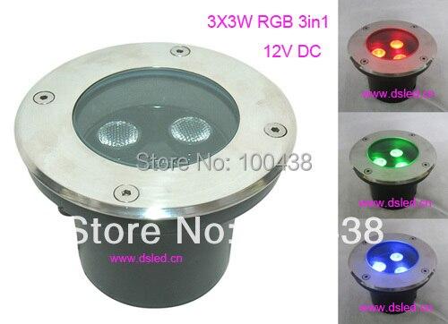Livraison gratuite!! Lumière souterraine de 9 W LED rvb, lumière LED de plancher de rvb, 12VDC, DS-11C-D120-9W, tri-puce de 3*3 W rvb, tension constante