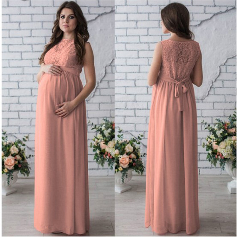76edd6a181dad Maternity Dress Lace Maxi Long Dress for Pregnant Wedding Party Dresses  Summer Pregnancy Clothes Sleeveless Tank Solid Dress New-in Dresses from  Mother ...