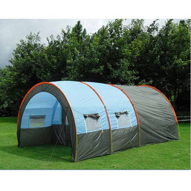 10persons large family tent camping tent tunnel tent 1Hall 2room outdoor travel party tent equipment