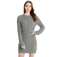 Fall Winter Cosy Cable Knit Middle Long Sweater Dress for Women Cute Ladies Chunky Pullover Jumper Oversized S 3XL