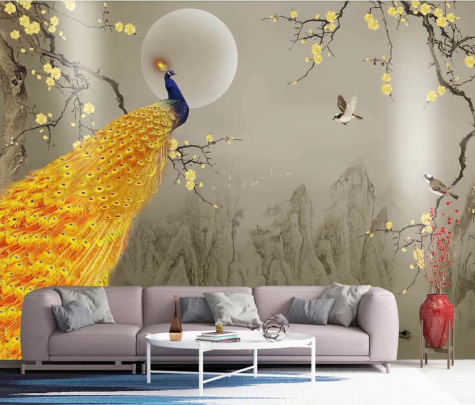 Nouveau chinois encre paysage doré prune paon fleur oiseau mur papier peint pour murs 3 d pour salon - 3