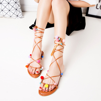 New 2016 Shoes Women Sandals Summer Style Flats Lace Up Sexy Ankle Boots Gladiator Top Quality
