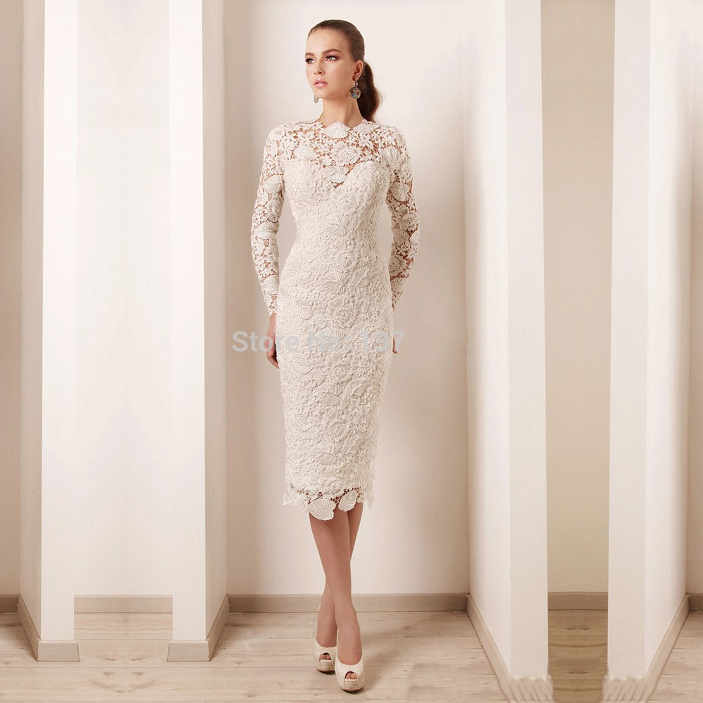Elegant long sleeve high neck pearls lace short mother for Long dress for wedding reception