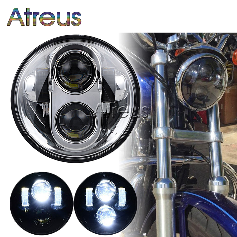 Atreus 2X Front Driving HeadLights For Harley Davidson Motorcycle Daymaker Black 5.75 HID LED High Low Beam 5 3/4 DRL Headlamp harley motorcycle 7 inch orange motorcycle headlight 4 5 fog daymaker hid led light bulb headlight for harley davidson