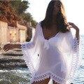 Aliexpress 2016 ebay новых женщин Пляж Бикини белый кружевной блузке