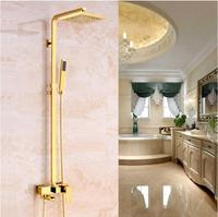 Free Shipping Europe style Rainfall Shower Faucet Set Wall Mounted bathroom gold finished Mixer Luxury Bath & Shower Faucet set
