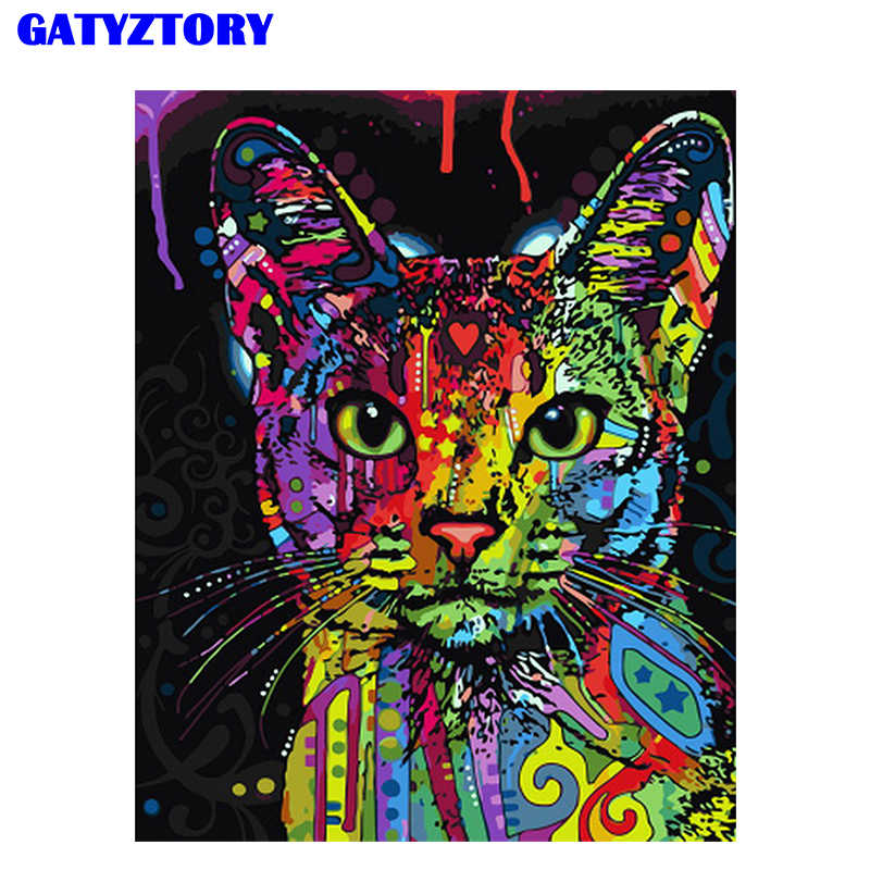Frameless Abstract Colorful Cat Animals DIY Painting By Numbers Hand Painted Oil Painting For Wall Art Picture Home Decoration