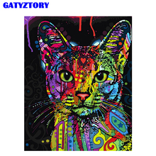 Frameless Abstract Colorful Cat Animals DIY Painting By Numbers Hand Painted Oil For Wall Art Picture Home Decoration