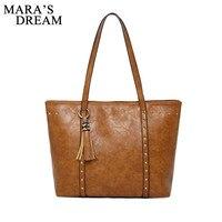 Mara's Dream Women Bag 2019 Women's Leather Handbags Luxury Lady Hand Bags With Tassel Rivet Female Messenger Bag Big Tote Cluth
