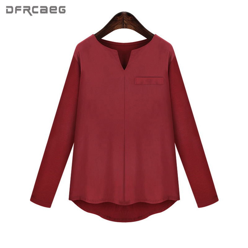 Summer Tops For Women 2019 Casual Solid V Neck Long Sleeve Tshirt Women Red Black Khaki White Cotton Linen T shirt Woman in T Shirts from Women 39 s Clothing