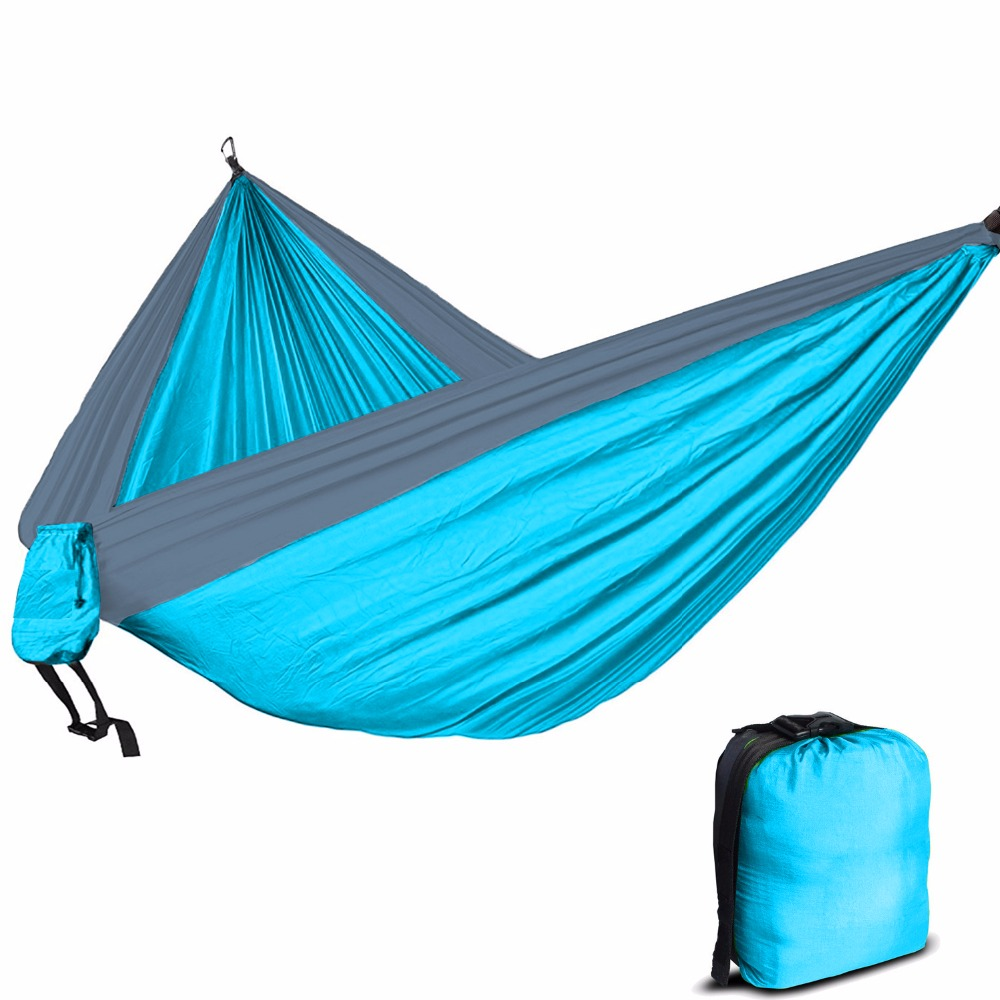 person sleep hammock parachute camping double fabric travel portable nylon swing itm