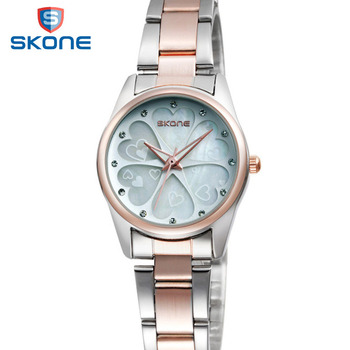 SKONE Women's Quartz Watch w/ Flower Rhinestone
