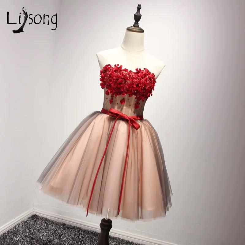 Pretty Red 3D Flower Short   Cocktail     Dresses   2017 Off Shoulder Plsu Size 8 Grade Graduation   Dresses   Vestidos De Festa A109